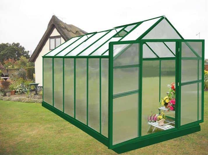 12' X 8 Nison Green Polycarbonate Greenhouse with Hinged Doors