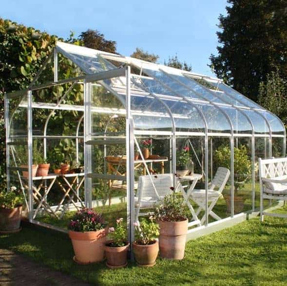 12 x 8 Halls Silver Aluminium Supreme Greenhouse with Vent