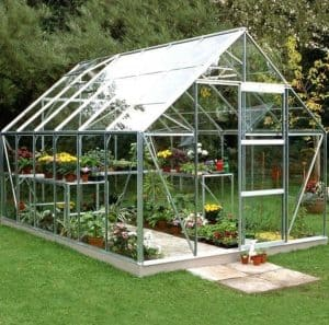 12 x 8 Halls Silver Aluminium Universal Greenhouse with Vent