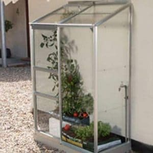 2 x 4 Vitavia Ida 900 Silver Lean-to Glass Greenhouse