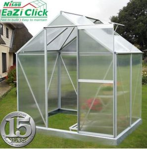 4' x 6' Nison EaZi-Click Silver Polycarbonate Greenhouse