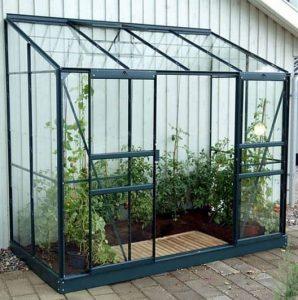 4 x 8 Vitavia Ida 3300 Green Lean-to Glass Greenhouse