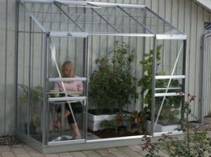4 x 8 Vitavia Ida 3300 Silver Lean-to Glass Greenhouse