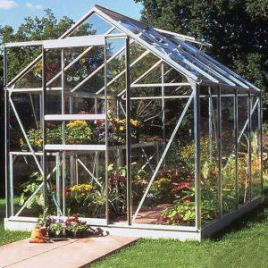 8 x 6 Halls Silver Aluminium Popular Greenhouse with Vent