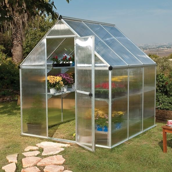 Palram 6 x 6 Mythos Silver Polycarbonate Greenhouse - What Shed