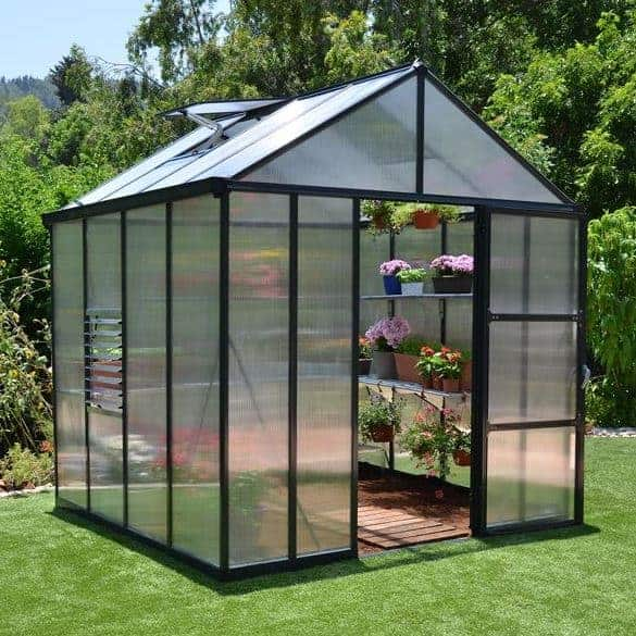 Palram 8 x 8 Glory Dark Grey Polycarbonate Greenhouse