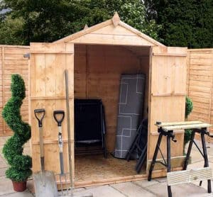 6' x 4' Windsor Somerset Double Door Wooden Garden Shed Open Door