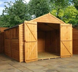 10' x 10' Windsor Overlap Modular Shed Workshop Wide Double Doors and Empty Inside