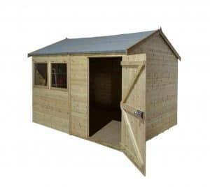 10' x 6' Shed-Plus Champion Heavy Duty Reverse Apex Single Door Shed Open