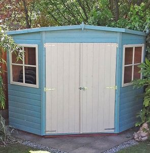 7'5 x 7'5 Shire Shiplap Corner Shed Blue Paint