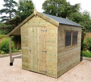 8' x 6' Shed-Plus Champion Heavy Duty Workshop with Logstore - Closed Door