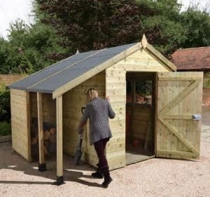 8' x 6' Shed-Plus Champion Heavy Duty Workshop with Logstore - Single Door