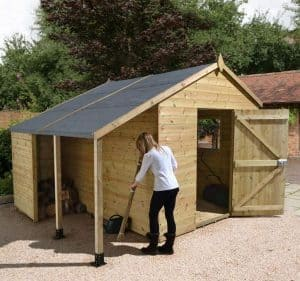 10' x 6' Shed-Plus Champion Heavy Duty Workshop with Logstore - Single Door