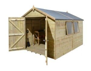 10' x 8' Shed-Plus Champion Heavy Duty Apex Double Door Shed Unpainted