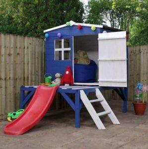 4 x 4 Waltons Honeypot Bluebell Wooden Tower Playhouse with Slide Open Door