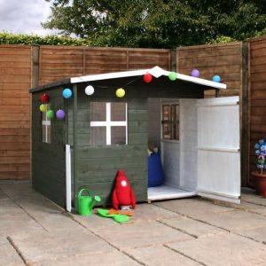 5 x 5 Waltons Honeypot Rose Wooden Playhouse Single Door Open