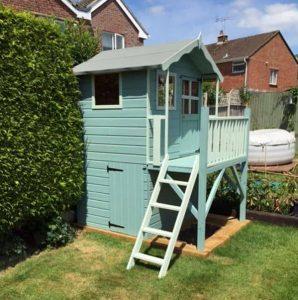 7 x 5 Waltons Honeypot Poppy Tower Wooden Playhouse Blue Green Color