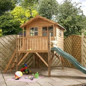 7 x 5 Waltons Honeypot Poppy Tower Wooden Playhouse With Slide