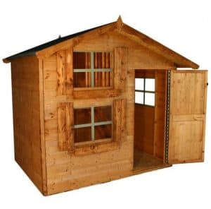 7 x 5 Waltons Honeypot Snowdrop Cottage Wooden Playhouse with Loft Single Door Open Unpainted