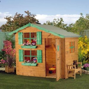 7 x 5 Waltons Honeypot Snowdrop Cottage Wooden Playhouse with Loft Unpainted Cladding