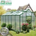 12' x 8' Nison EaZi-Click Green Polycarbonate Greenhouse