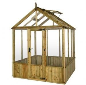 6 x 6 Waltons Pressure Treated Wooden Greenhouse Closed Door