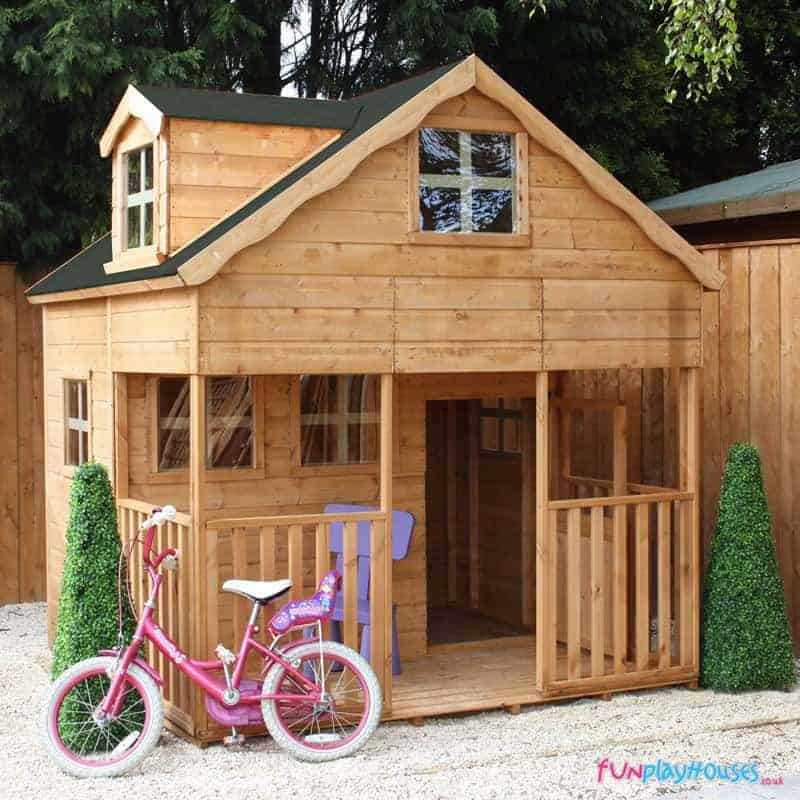 7x7 Windsor Primrose 2 Storey Kids Wooden Playhouse with Veranda