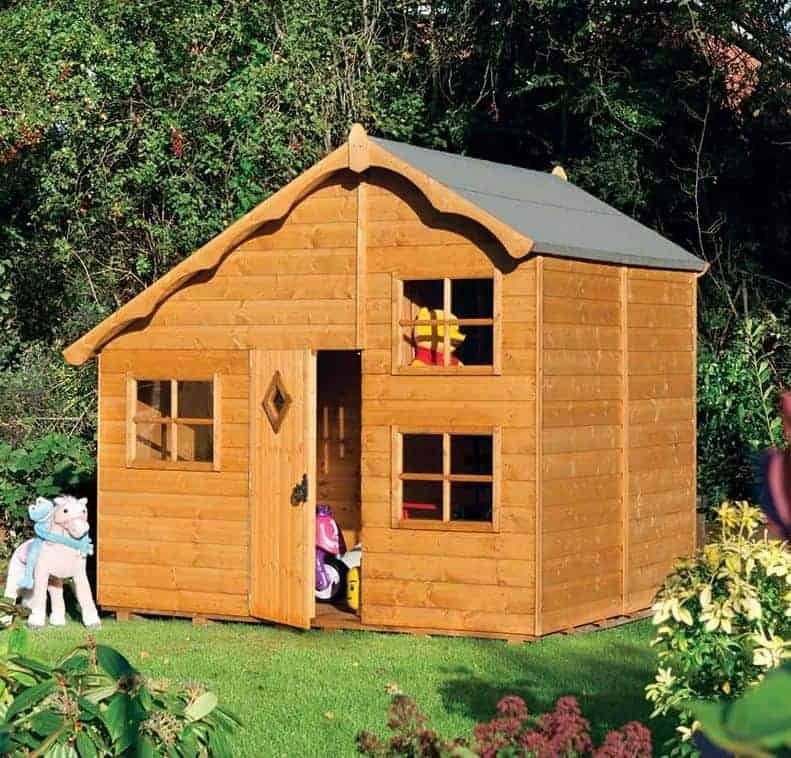 8x7 Rowlinson Playaway Swiss Cottage 2 Storey Kids Wooden Playhouse