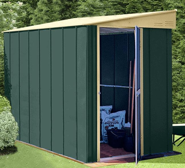 4' x 6' Lotus Heritage Green Lean-To Metal Shed (1.24m x 1.8m)