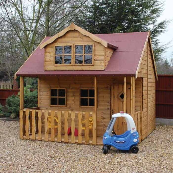 10x10 Traditional Swiss Cottage 2 Storey Kids Playhouse With Veranda