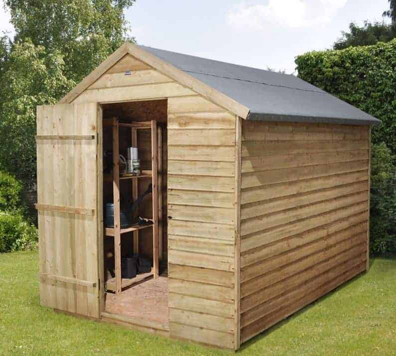 8' x 6' Forest Overlap Apex Pressure Treated Wooden Windowless Shed (2.4m x 1.91m)