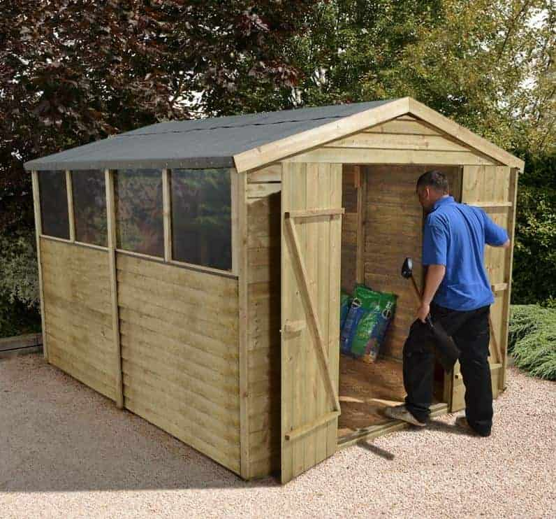 10' x 8' Forest Overlap Apex Pressure Treated Wooden Double Door Shed (3.10m x 2.46m)