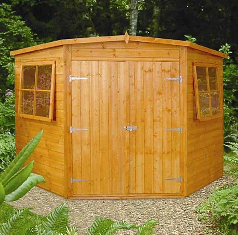 7'5 x 7'5 Shire Shiplap Wooden Corner Garden Shed (2.33m x 2.33m)