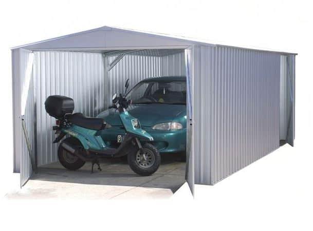 Absco 9ft 10 x 19ft 8 Titanium Easy Build Apex Metal Garage