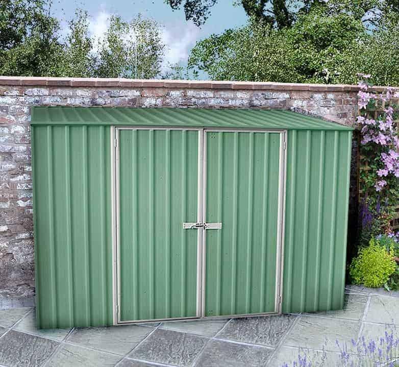 10' x 6' Lotus Heritage Green Apex Metal Shed (3.07 x 1.85m)