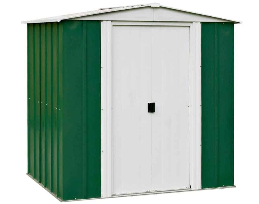 Keter Factor Outdoor Plastic Garden Storage Shed, Beige, 6 x 6 ft