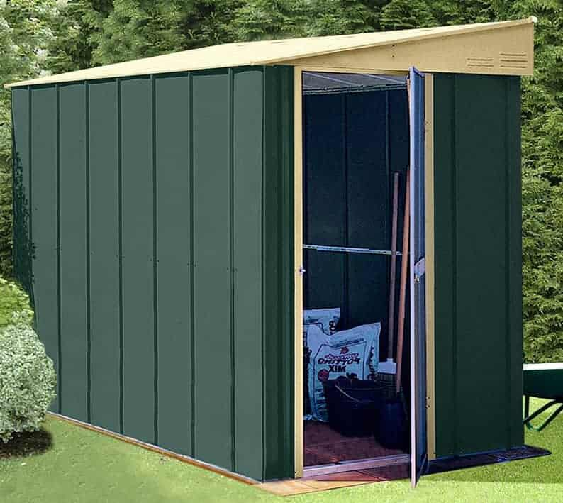 4' x 6' Lotus Heritage Green Lean-To Metal Shed (1.24m x 1.8m)