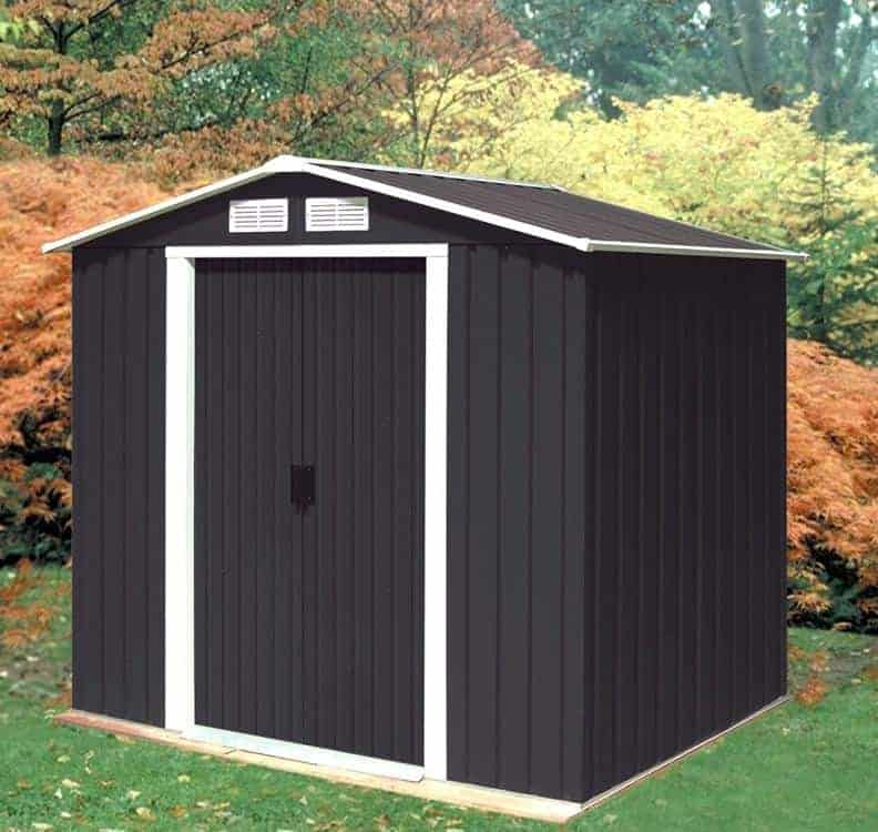 6' x 4' Sapphire Apex Anthracite Metal Shed (2.02m x 1.22m)