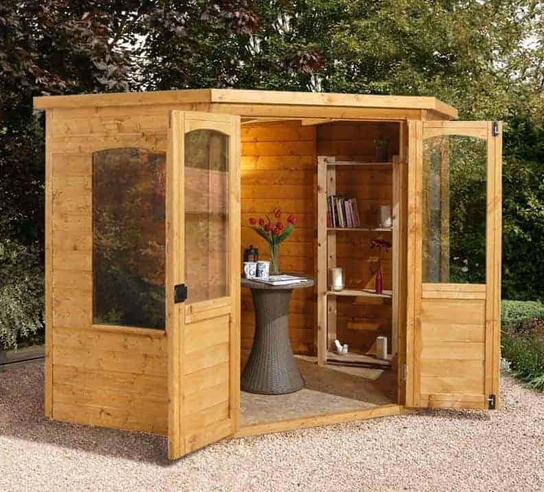 7x7 Forest Sudbury Traditional Corner Wooden Summerhouse