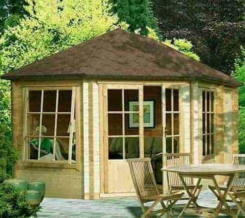 Shire Villandry 4.3m x 3m Corner Log Cabin Summerhouse (28mm)