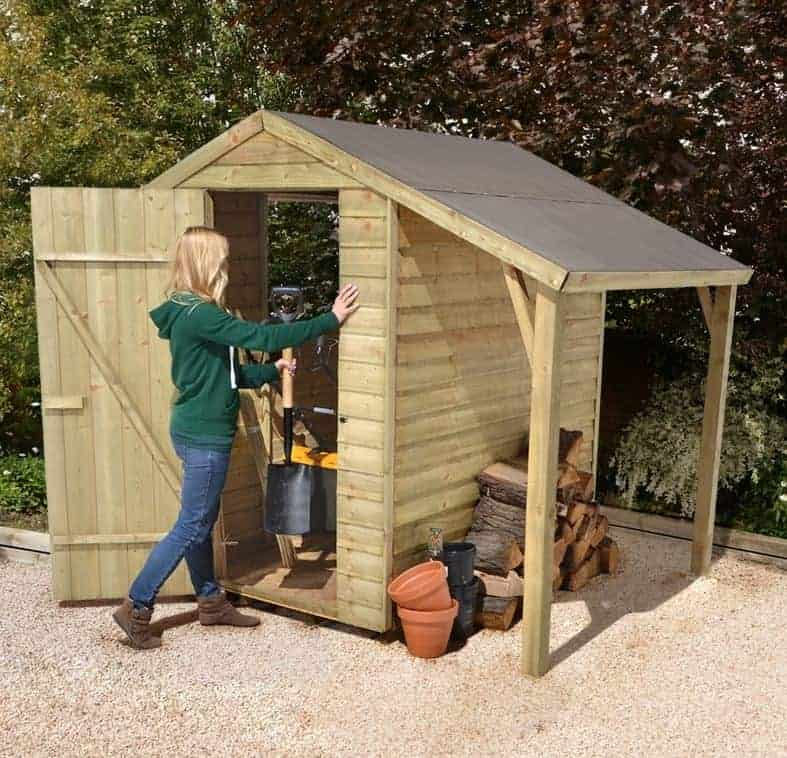6' x 4' Forest Overlap Apex Wooden Shed Pressure Treated with Lean-To (1.82m x 1.32m)