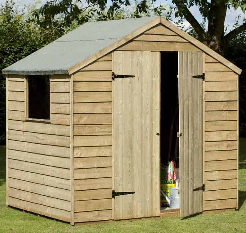 7x5 pressure treated double door overlap garden shed
