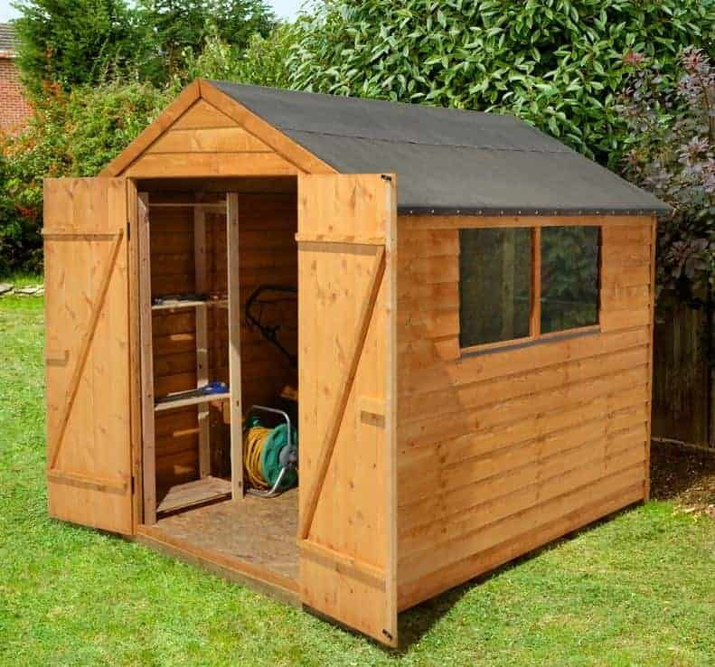 8' x 6' Forest Overlap Apex Dip Treated Wooden Double Door Shed (2.36m x 1.91m)