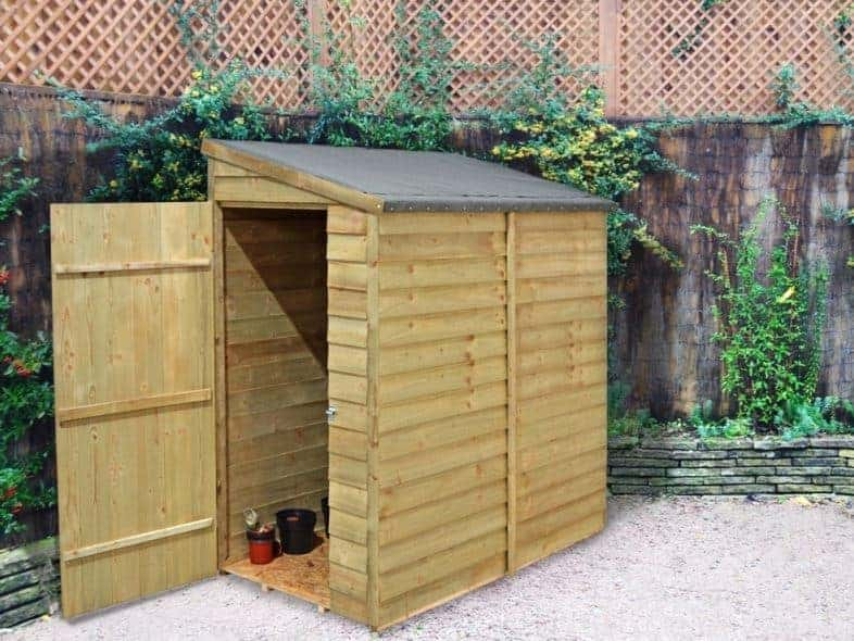 6' x 3' Forest Overlap Pent Pressure Treated Wooden Lean To Shed (1.81m x 1.07m)