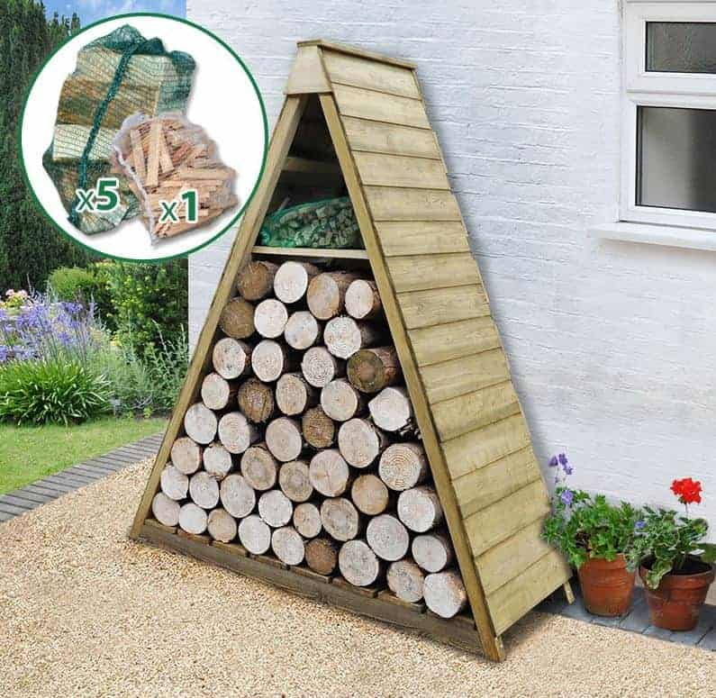 5u0027 X 2u0027 Alpine Log Store With Firewood Starter Pack