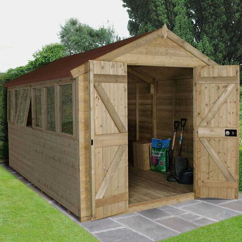 12' x 8' Forest Tongue & Groove Apex Pressure Treated Wooden Double Door Shed (3.91m x 2.62m)