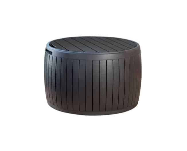 Keter 67 x 67 x 43.5 cm Circa Rattan Round Outdoor Storage Box Container and Ottoman Seat, Brown