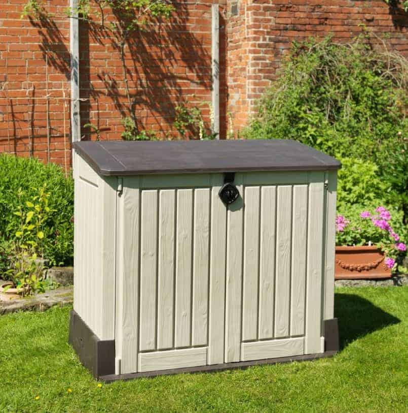 Store It Out Garden Storage Boxes Midi Wood Effect Pent Plastic Garden  Storage Chest