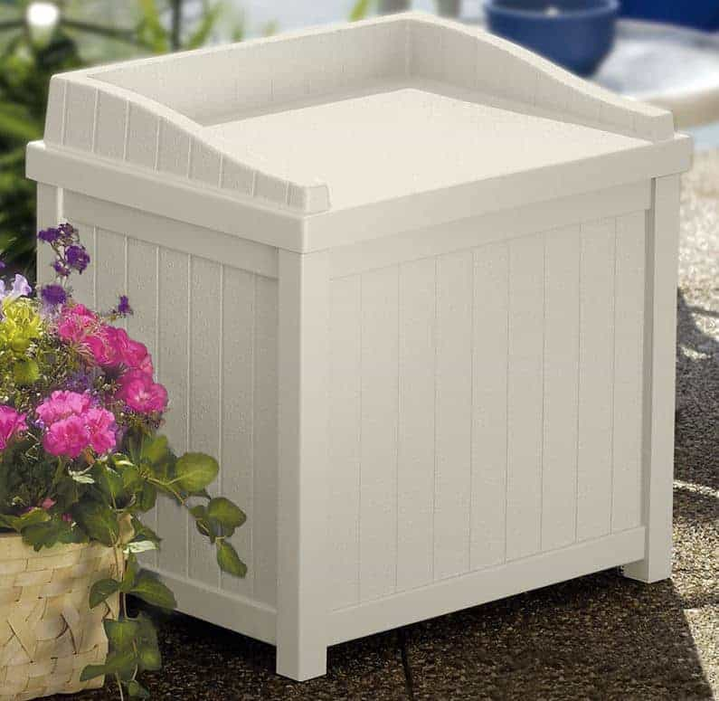 Awesome Suncast Garden Storage Boxes Resin Small Deck Box Garden Storage Seat