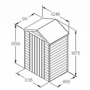 Hartwood 4' x 3' FSC Overlap Apex Shed Dimensions